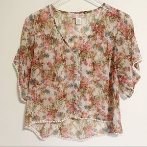 Band of Gypsies Sheer Floral Hi Low Button Blouse